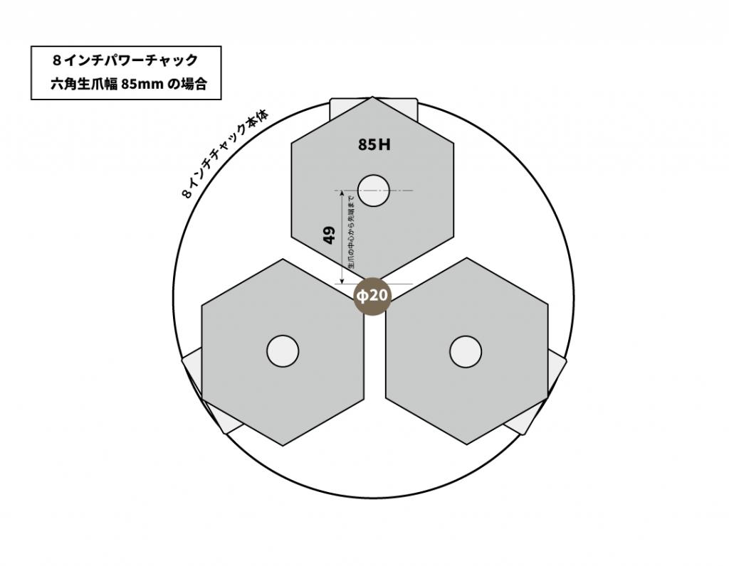 六角生爪の油圧パワーチャックでの選定ポイント|8インチで65幅