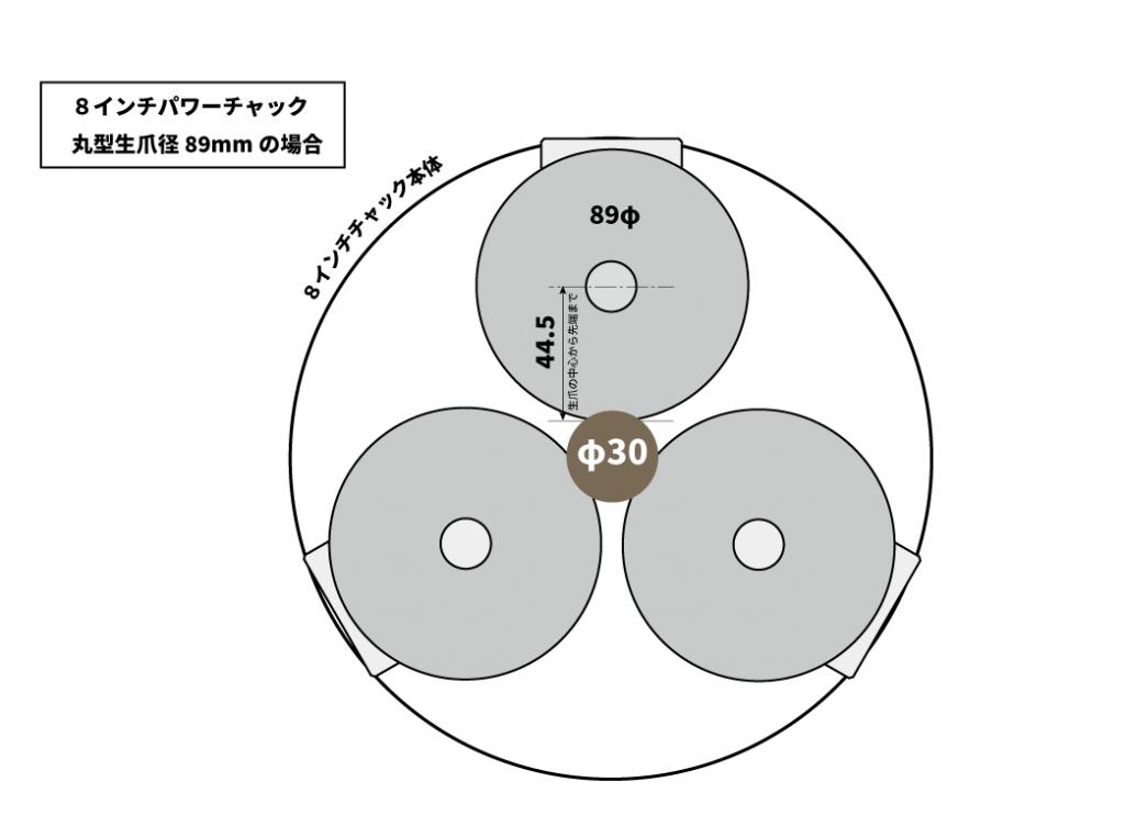 六角生爪の油圧パワーチャックでの選定ポイント|8インチで89丸